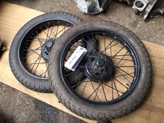 ACAW31 - Pair of sound solid centre wheels tyres appear unused