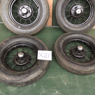 X21 - set 4 16 in special wheels 2 fitted 500x16 tyres. 2 fitted 550 x 16 tyres very sound and clean